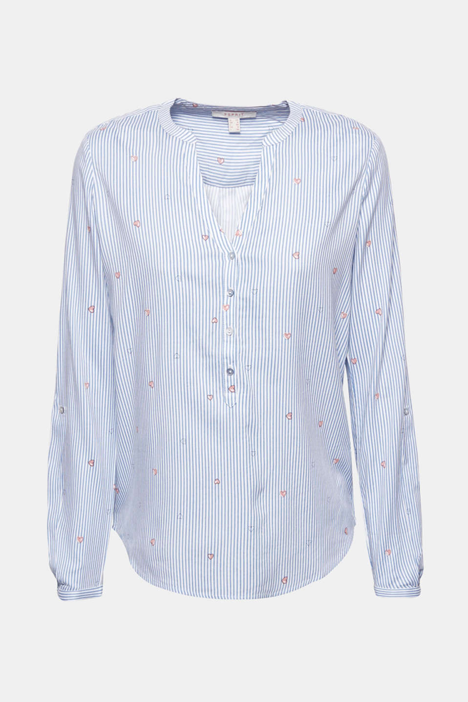 Henley blouse with an all-over print, LIGHT BLUE, detail image number 6