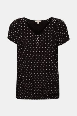 Printed blouse with an elasticated hem, BLACK, detail