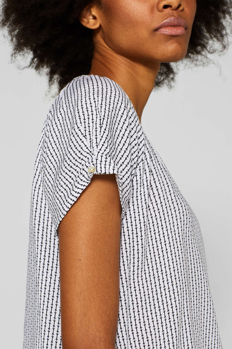 Printed blouse with an elasticated hem, OFF WHITE, detail image number 2