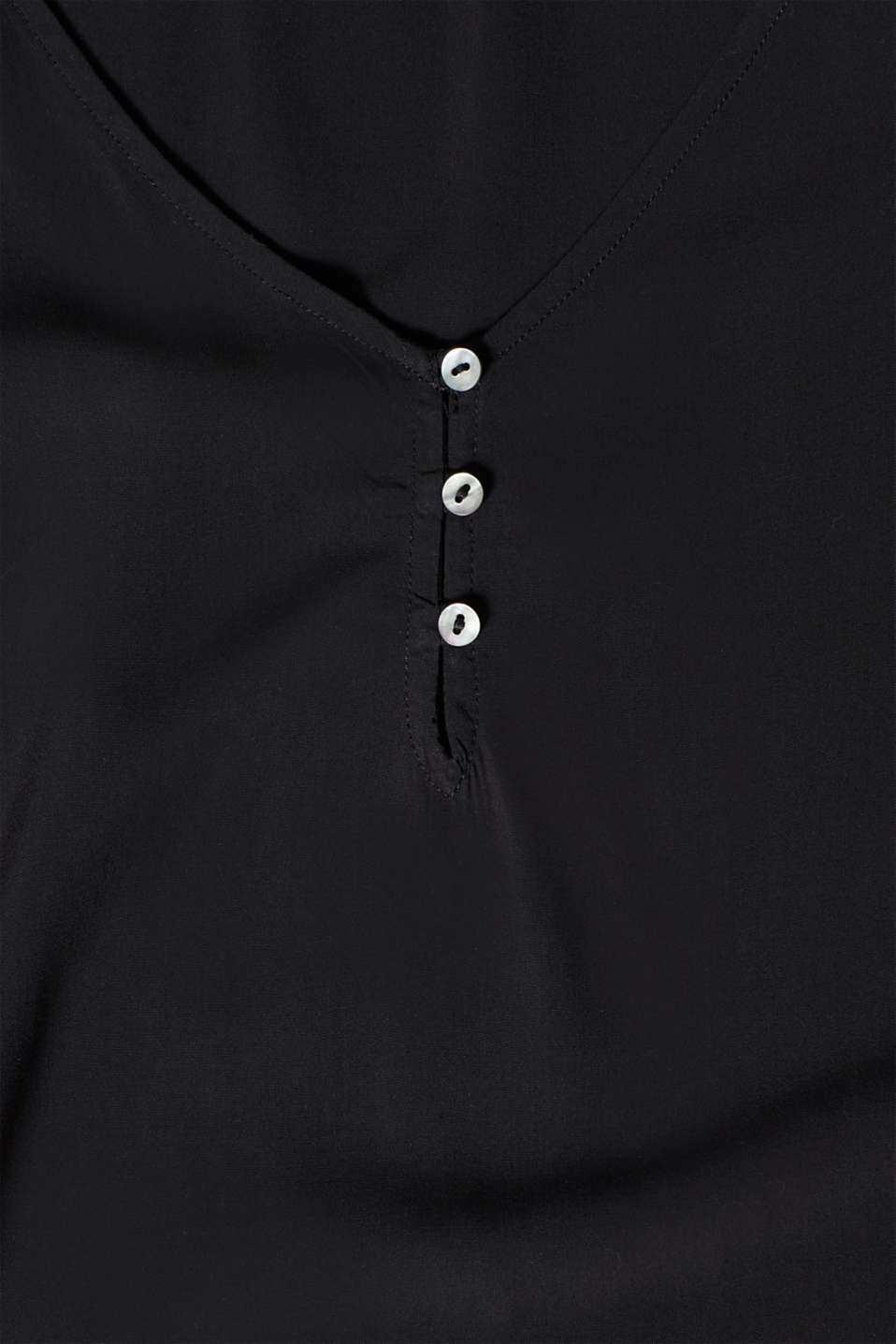 Smock detail V-neck blouse, BLACK, detail image number 4