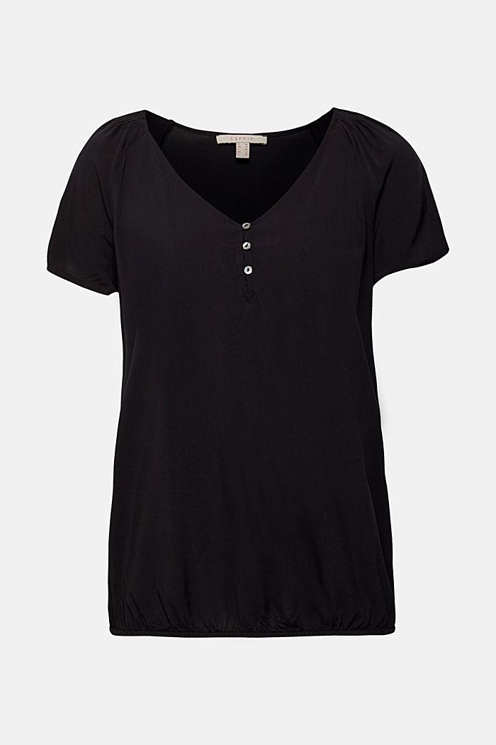 V-Neck-Bluse mit Smok-Details, BLACK, detail image number 0