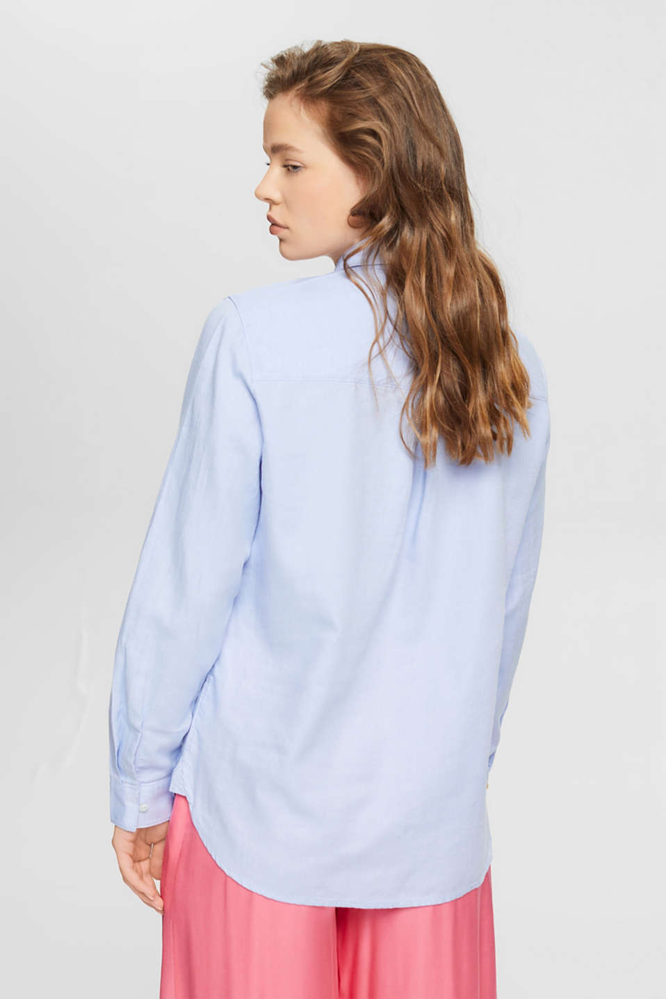 Shirt blouse made of 100% cotton, LIGHT BLUE, detail image number 3