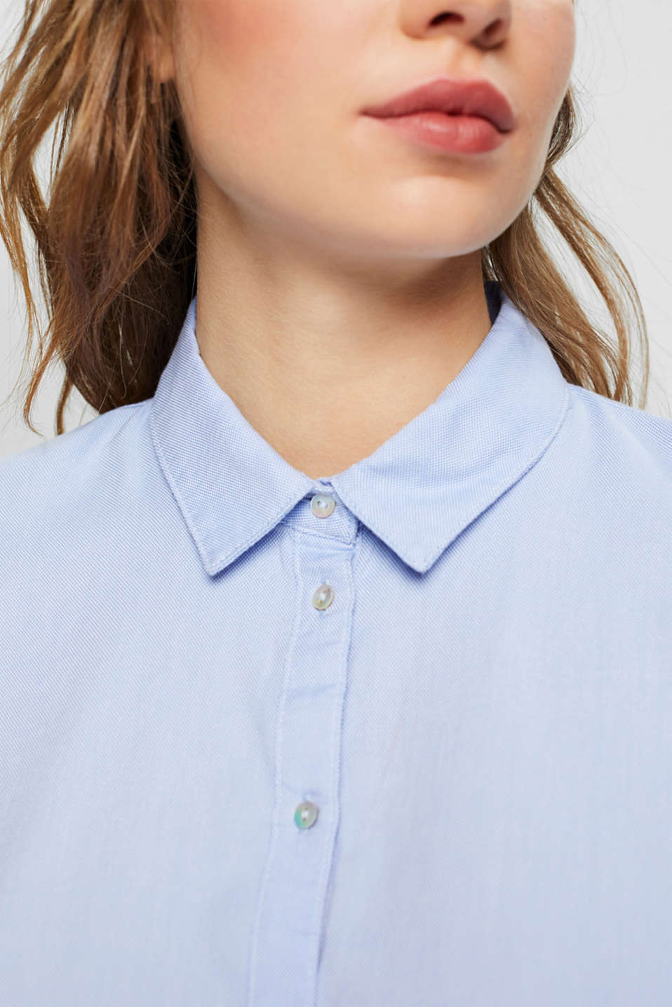 Shirt blouse made of 100% cotton, LIGHT BLUE, detail image number 2