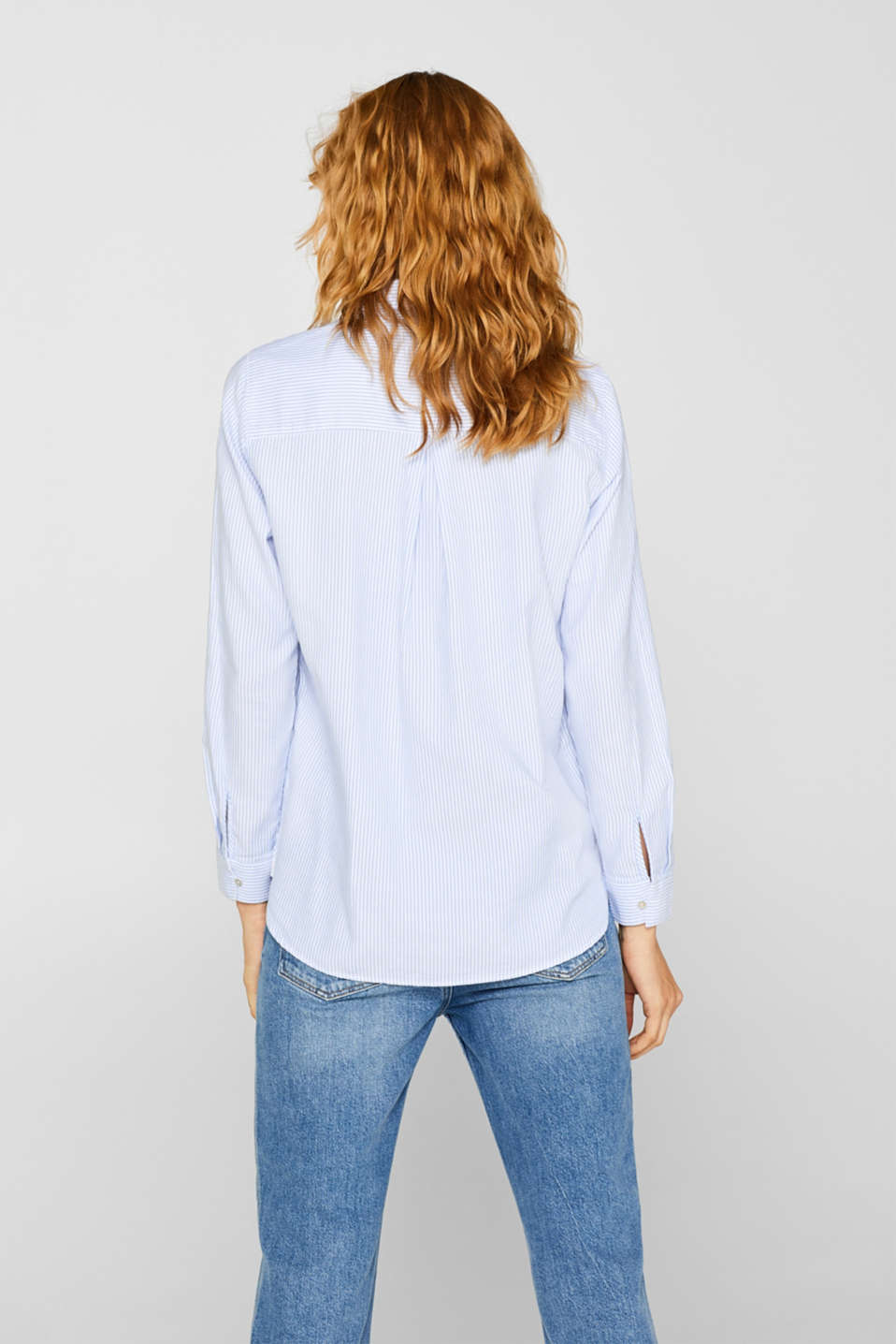 Striped blouse in 100% cotton, WHITE, detail image number 3