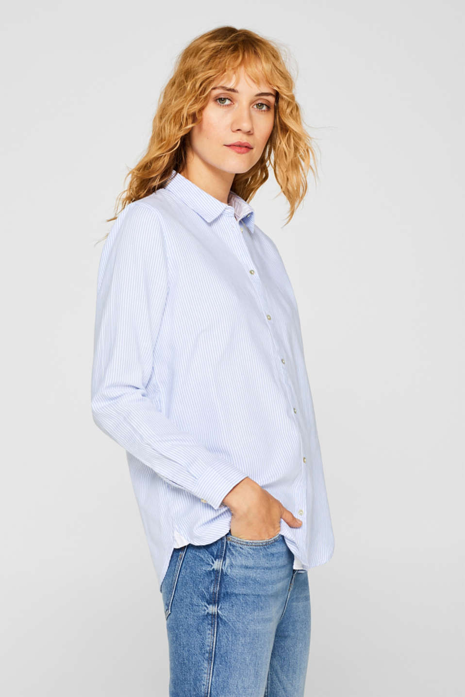 Striped blouse in 100% cotton, WHITE, detail image number 5