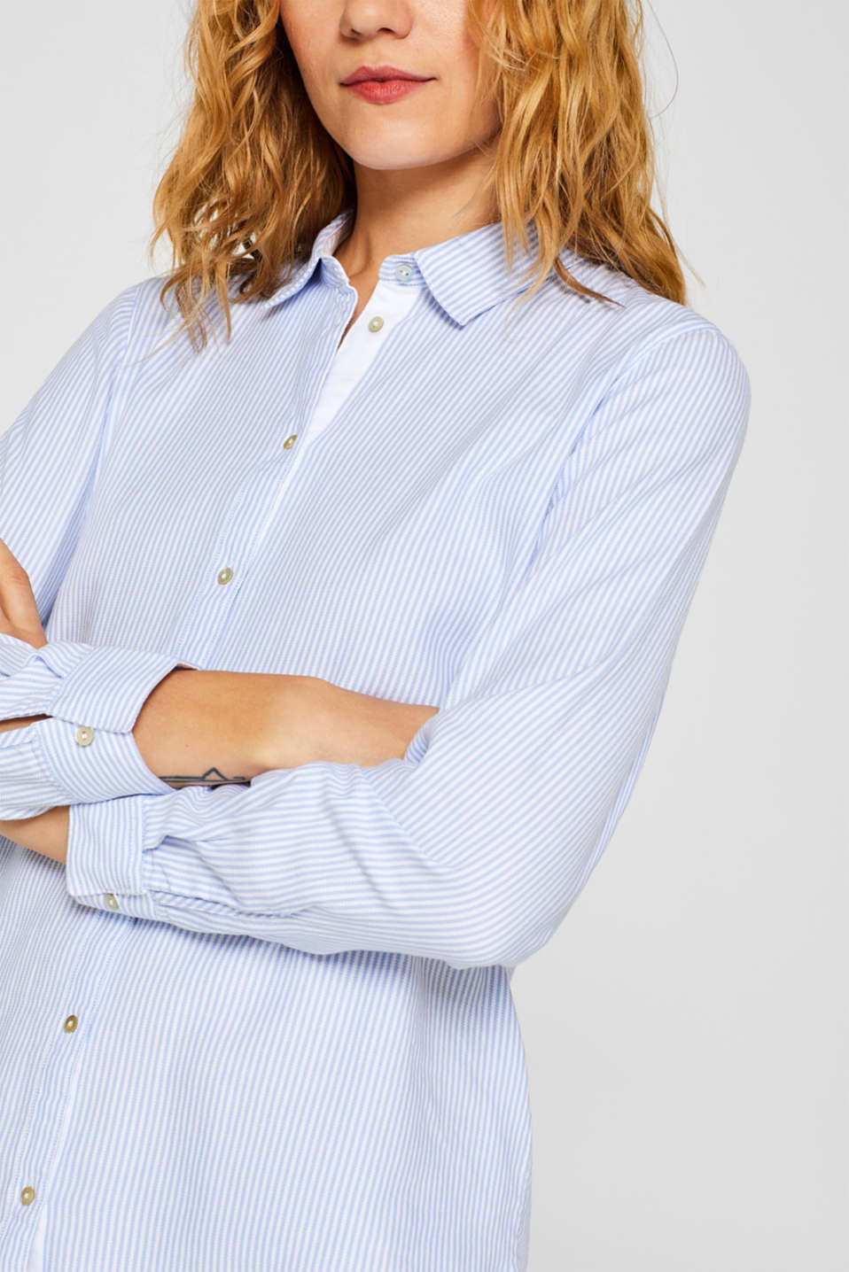 Striped blouse in 100% cotton, WHITE, detail image number 2