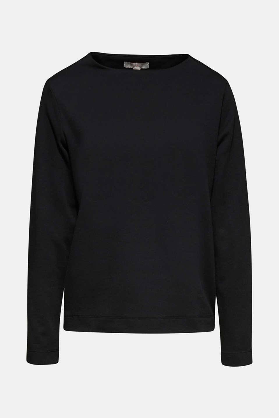 Boxy stretch jersey top, BLACK, detail image number 4
