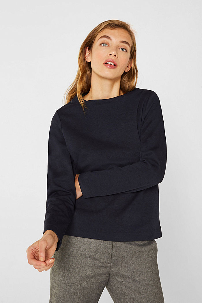 Boxy stretch jersey top, NAVY, detail image number 0