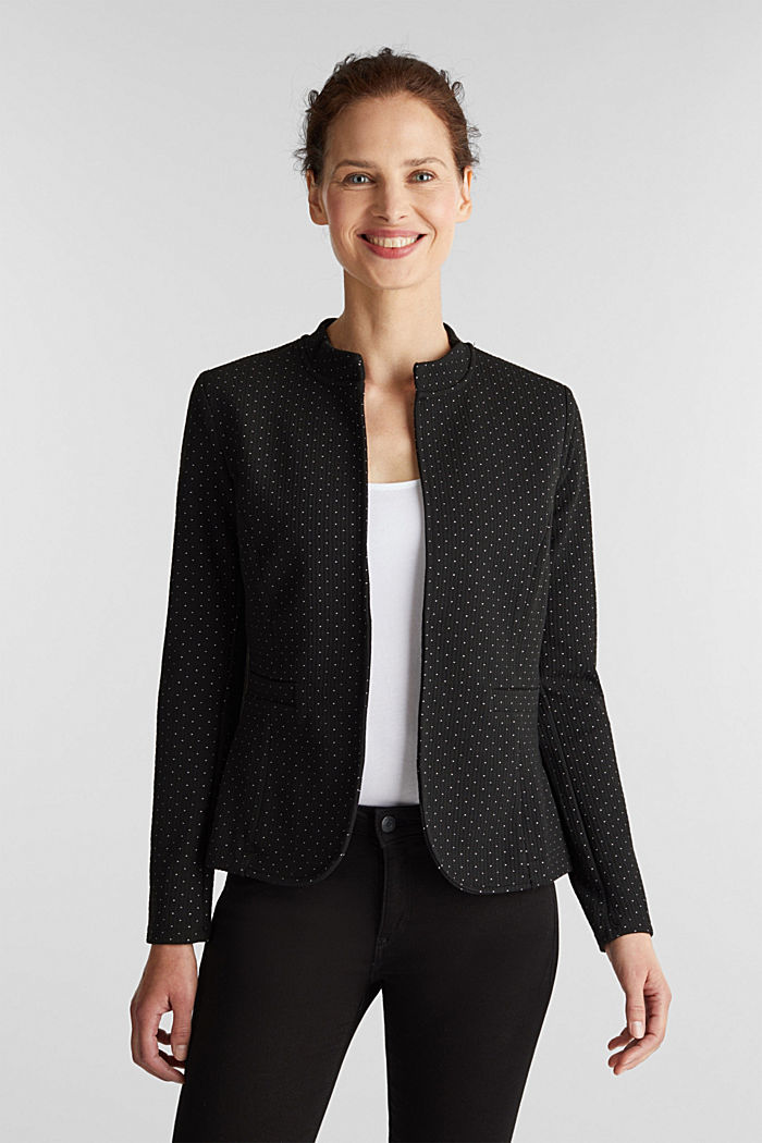 Stretch jersey blazer with polka dots, BLACK, detail image number 0