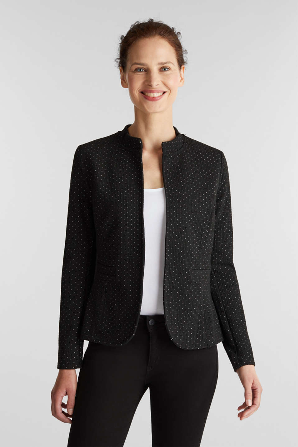 Esprit - Stretch jersey blazer with jacquard polka dots