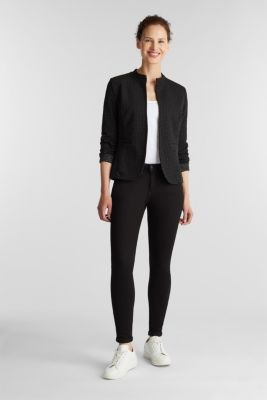 Stretch jersey blazer with polka dots, BLACK, detail
