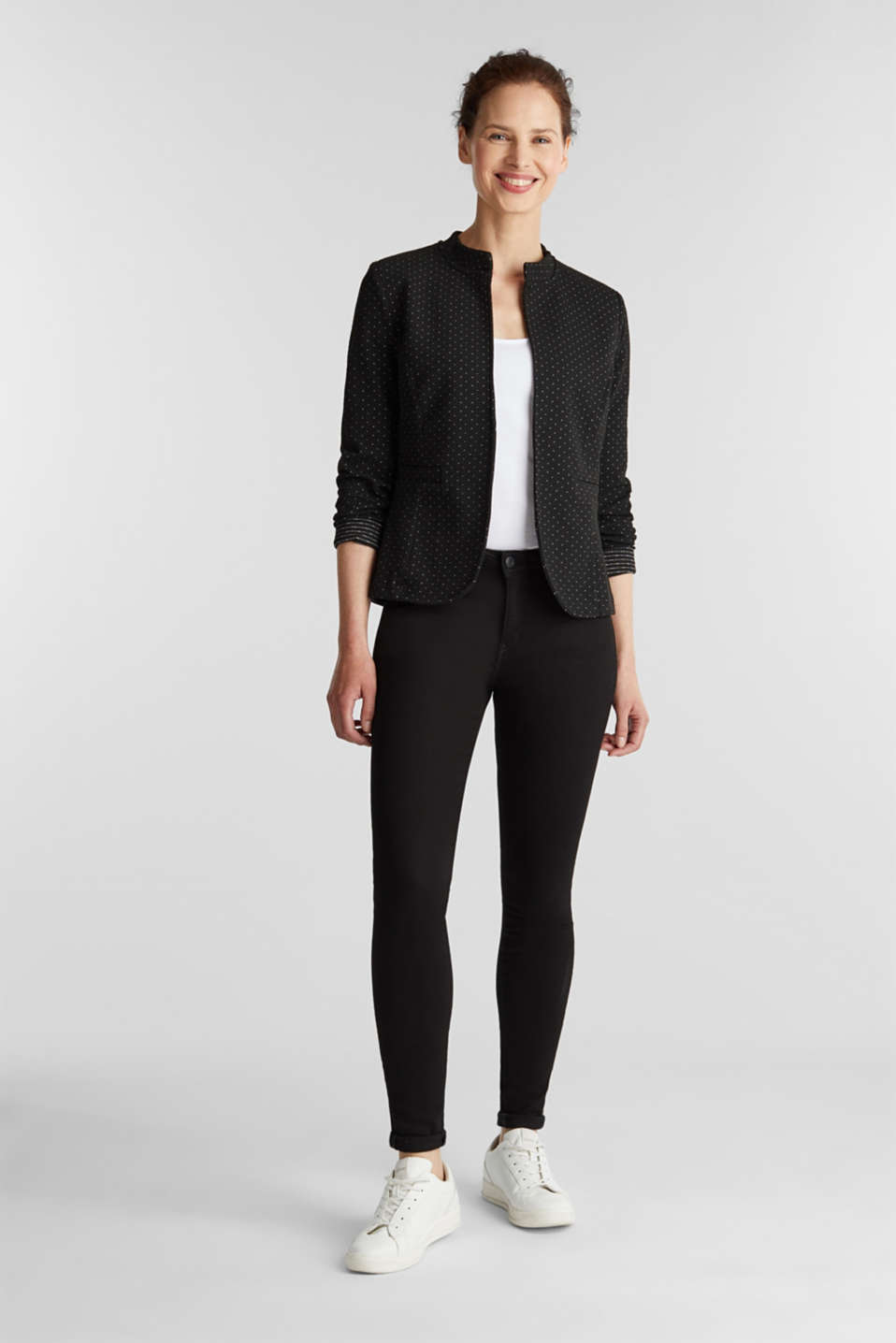 Stretch jersey blazer with polka dots, BLACK, detail image number 1