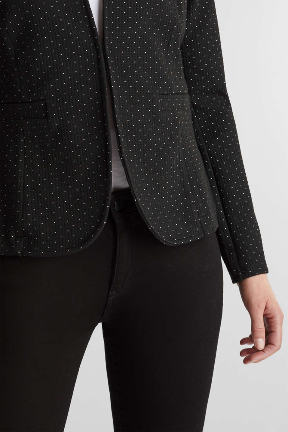 Stretch jersey blazer with polka dots, BLACK, detail image number 2