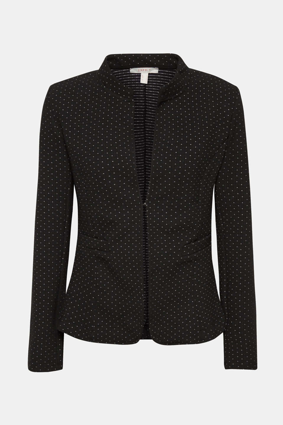 Stretch jersey blazer with polka dots, BLACK, detail image number 5