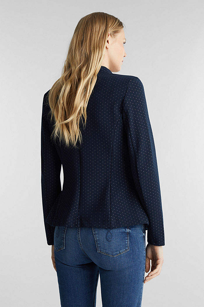 Stretch jersey blazer with polka dots, NAVY, detail image number 3