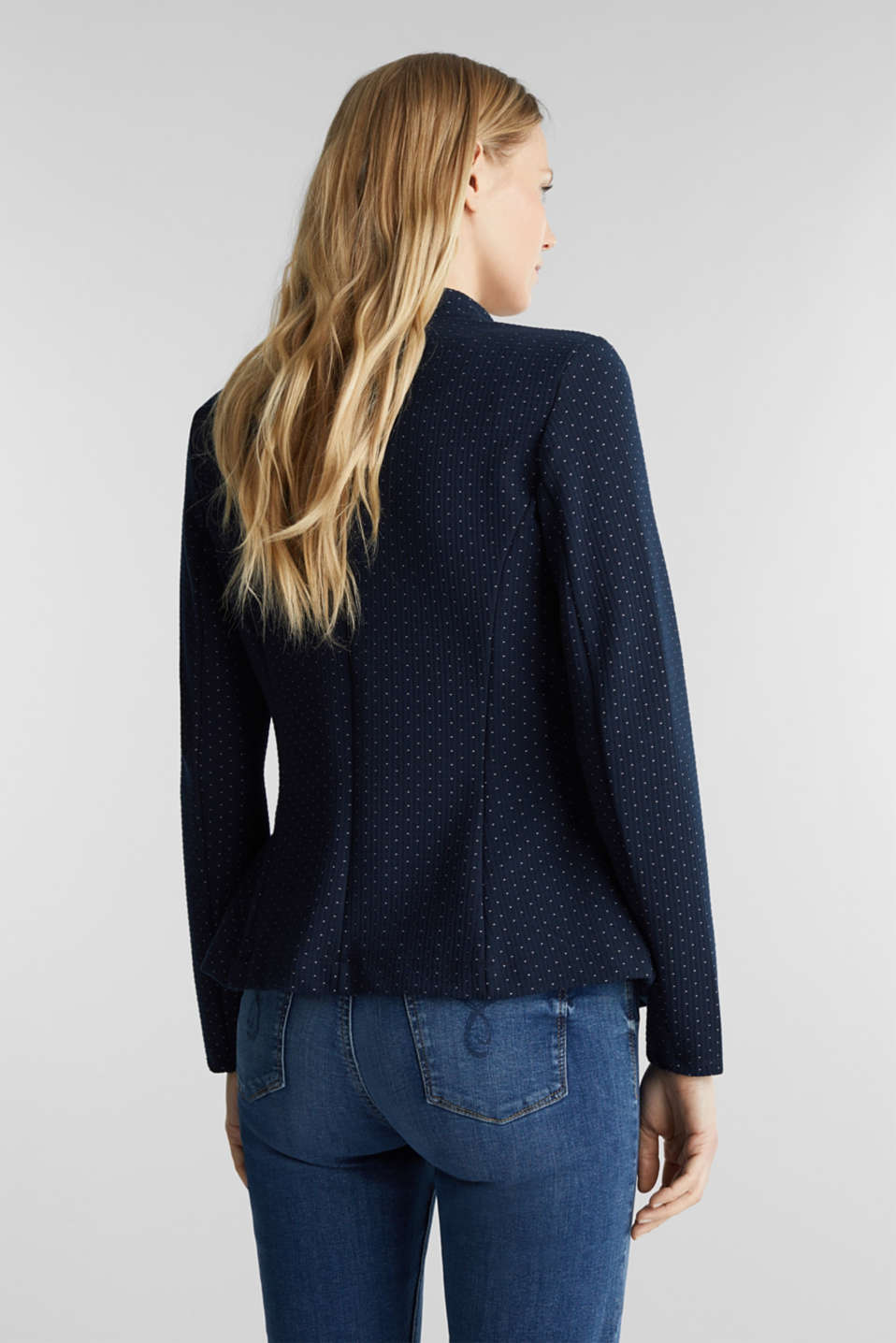 Stretch jersey blazer with jacquard polka dots, NAVY, detail image number 3