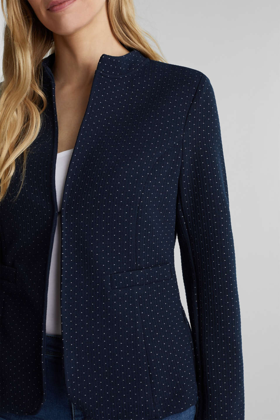 Stretch jersey blazer with jacquard polka dots, NAVY, detail image number 2