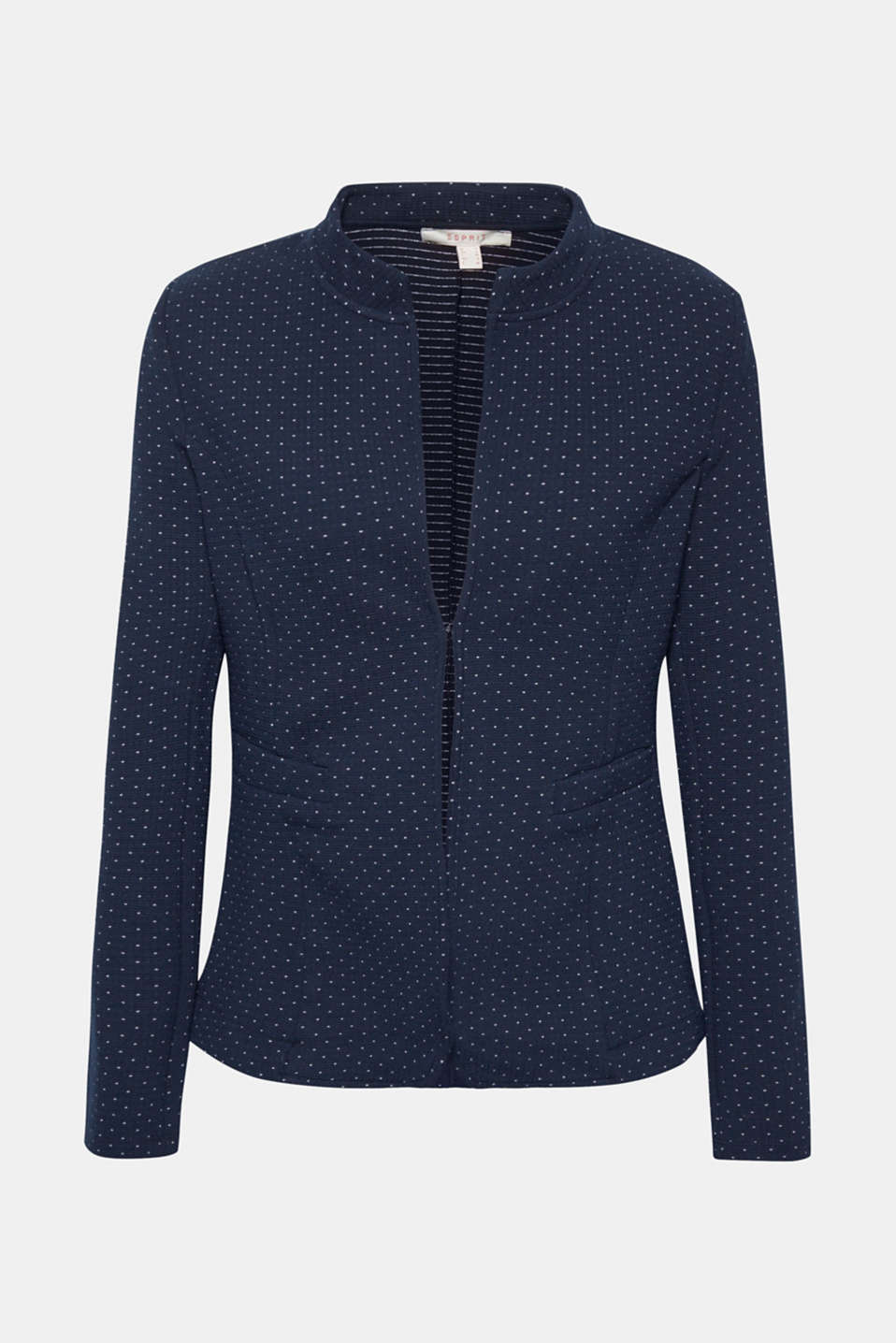 Stretch jersey blazer with jacquard polka dots, NAVY, detail image number 6