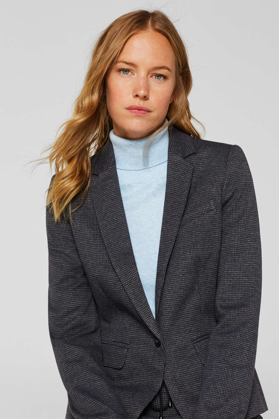 Jersey houndstooth blazer, GREY BLUE, detail image number 6