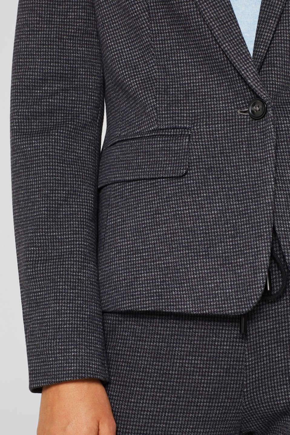 Jersey houndstooth blazer, GREY BLUE, detail image number 5