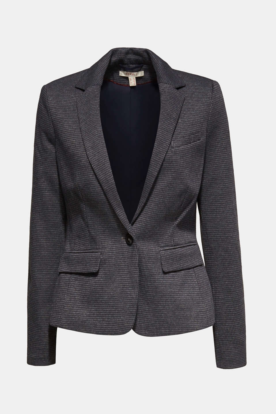 Jersey houndstooth blazer, GREY BLUE, detail image number 7