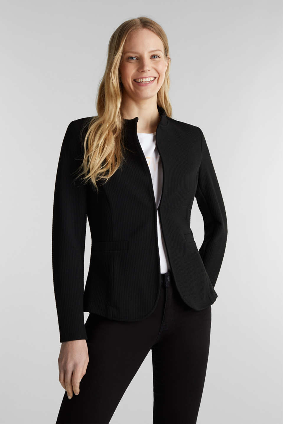 Textured stretch jersey blazer, BLACK, detail image number 0