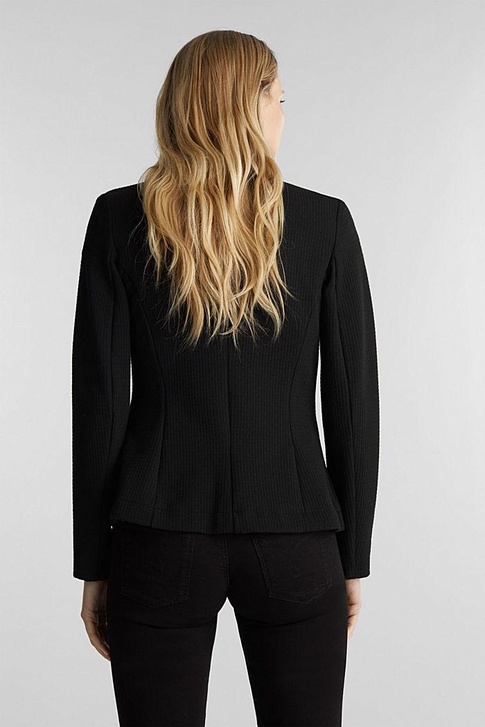 Textured stretch jersey blazer, BLACK, detail image number 3