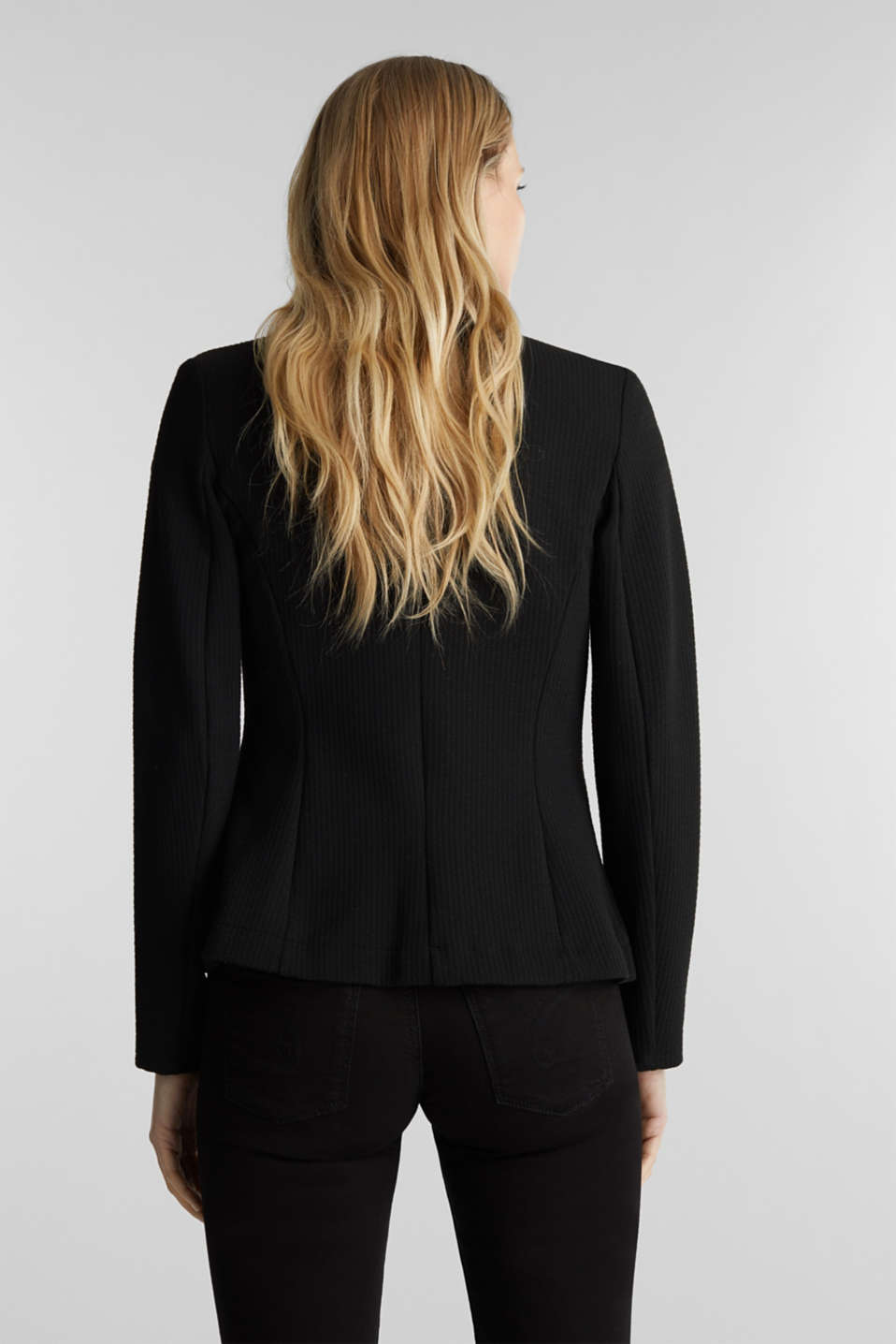 Textured stretch jersey blazer, BLACK, detail image number 3