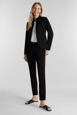 Textured stretch jersey blazer, BLACK, detail