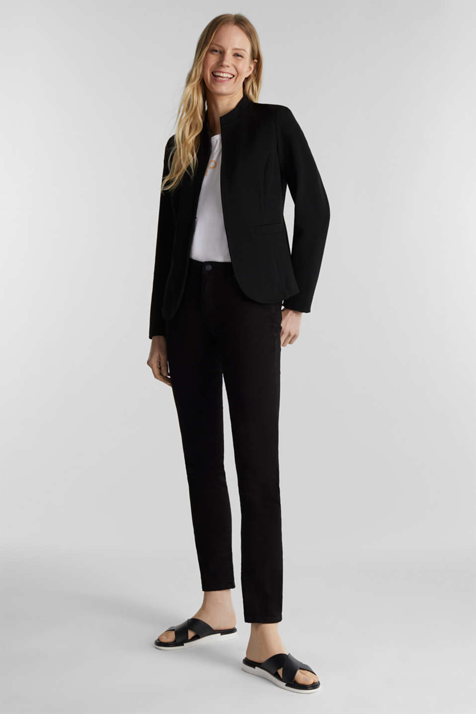 Textured stretch jersey blazer, BLACK, detail image number 1