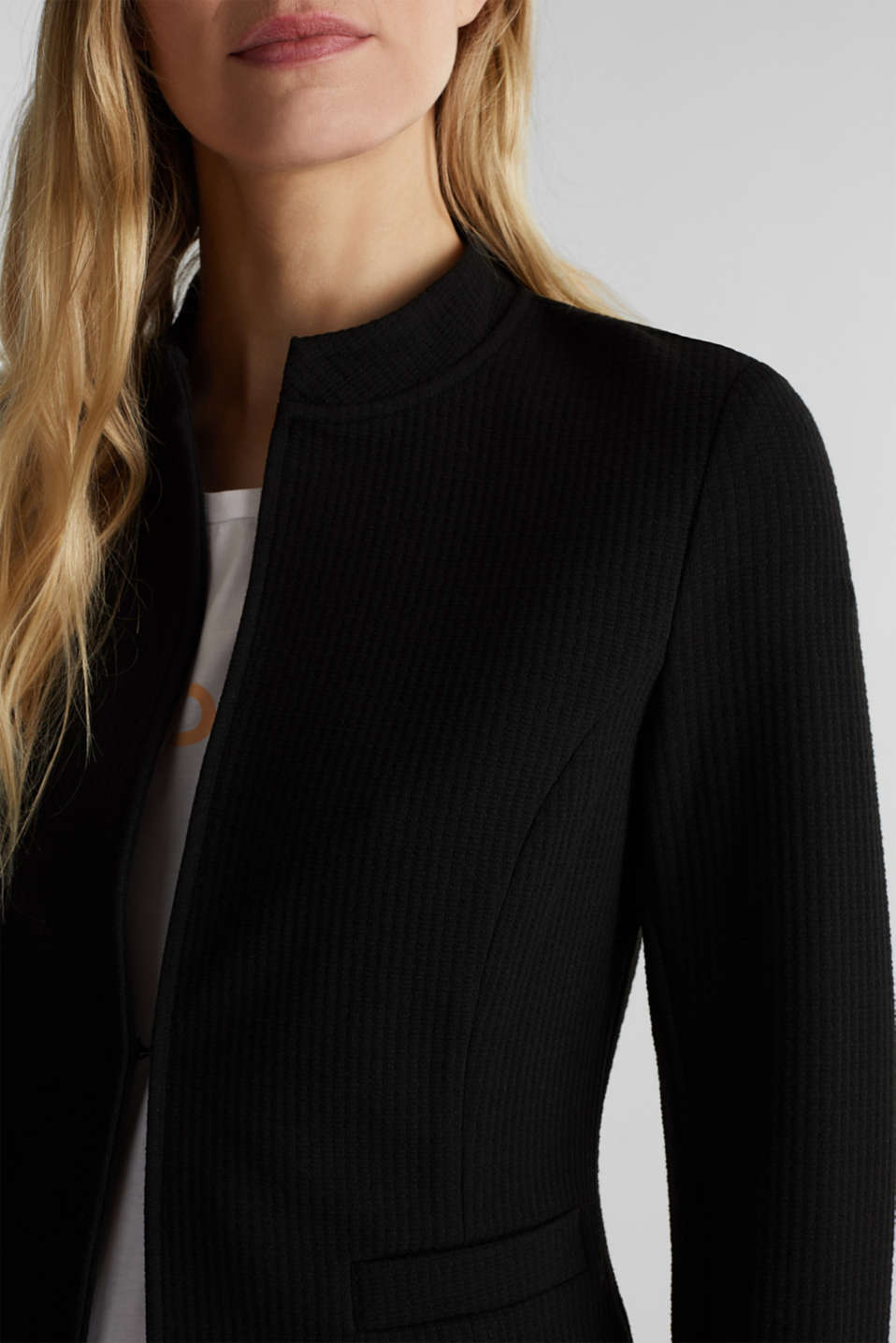 Textured stretch jersey blazer, BLACK, detail image number 2