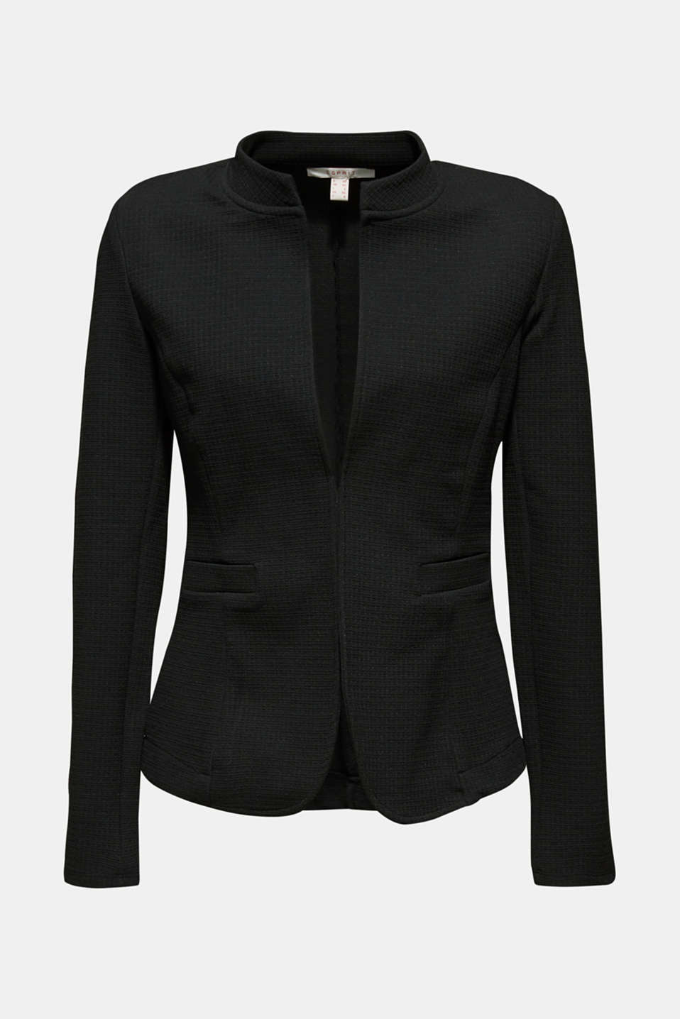 Textured stretch jersey blazer, BLACK, detail image number 5