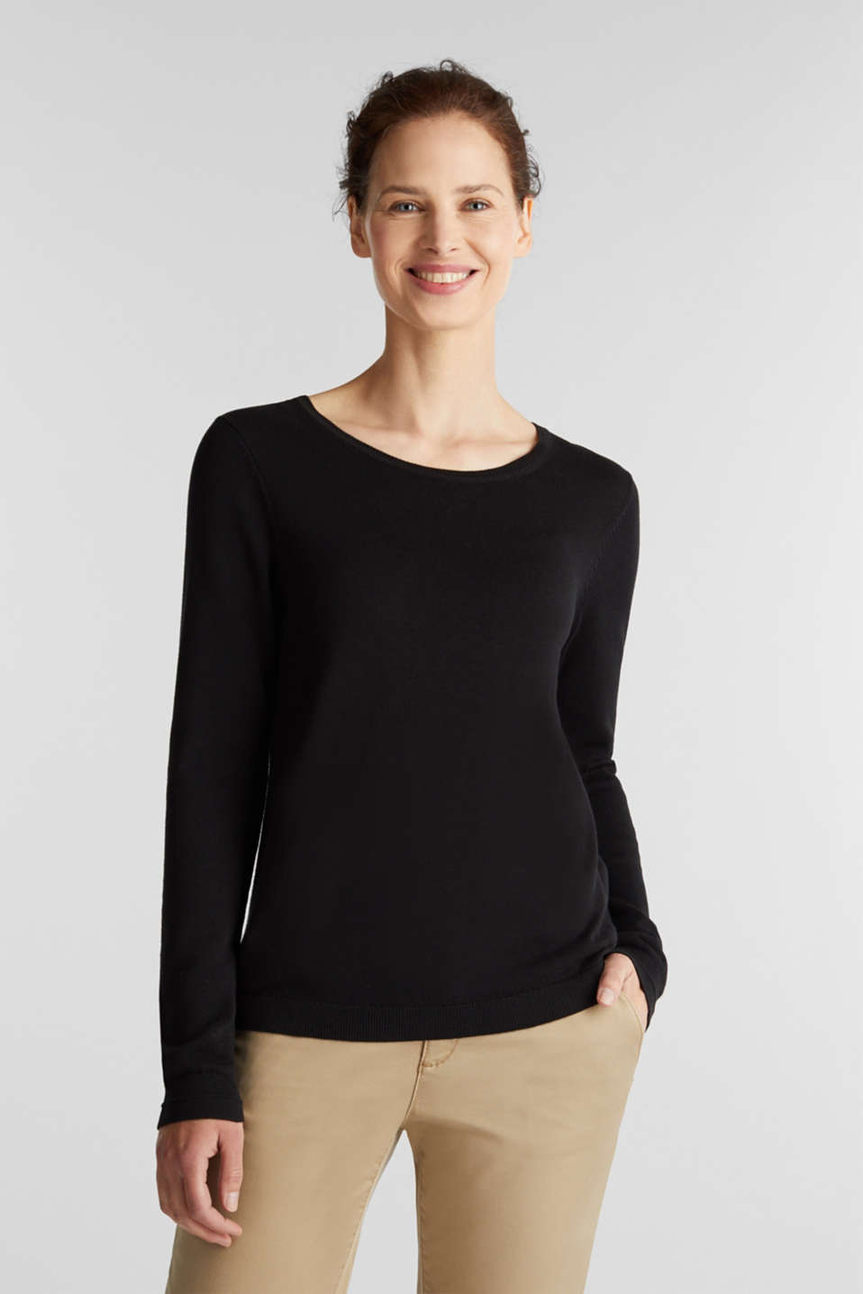 Jumper with organic cotton, BLACK, detail image number 0