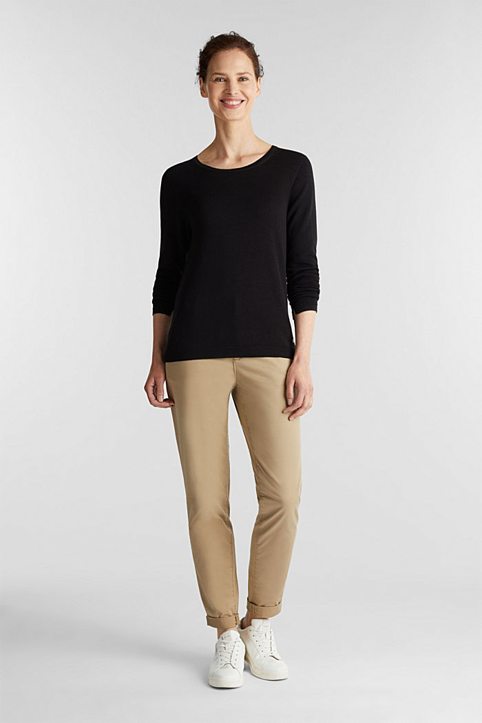 Jumper with organic cotton, BLACK, detail image number 1