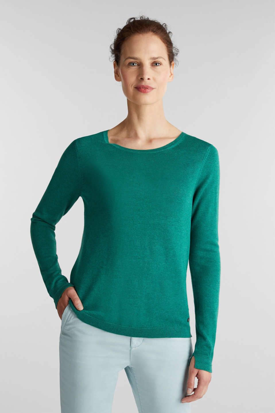Jumper with organic cotton, DARK GREEN 5, detail image number 0