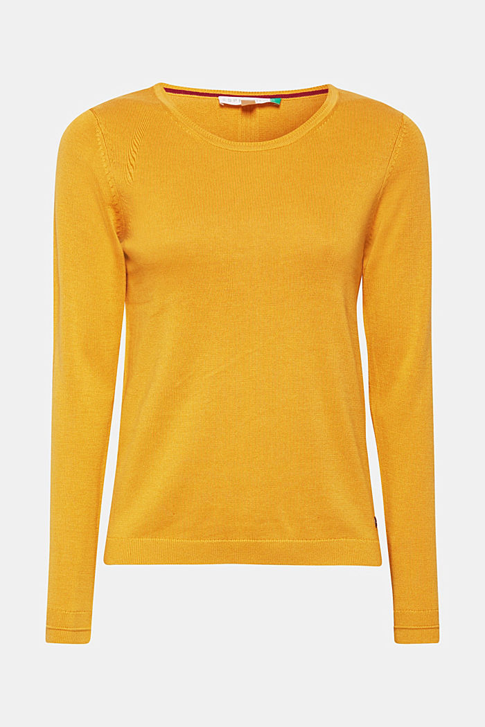 Jumper with organic cotton, HONEY YELLOW, detail image number 0