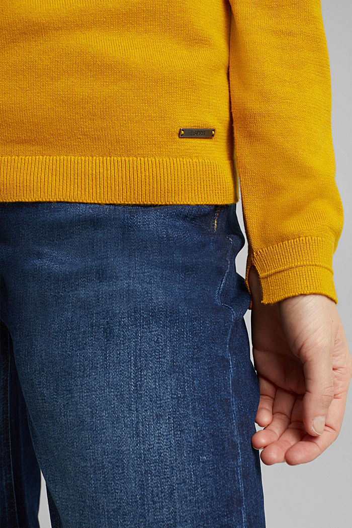 Jumper with organic cotton, BRASS YELLOW, detail image number 2