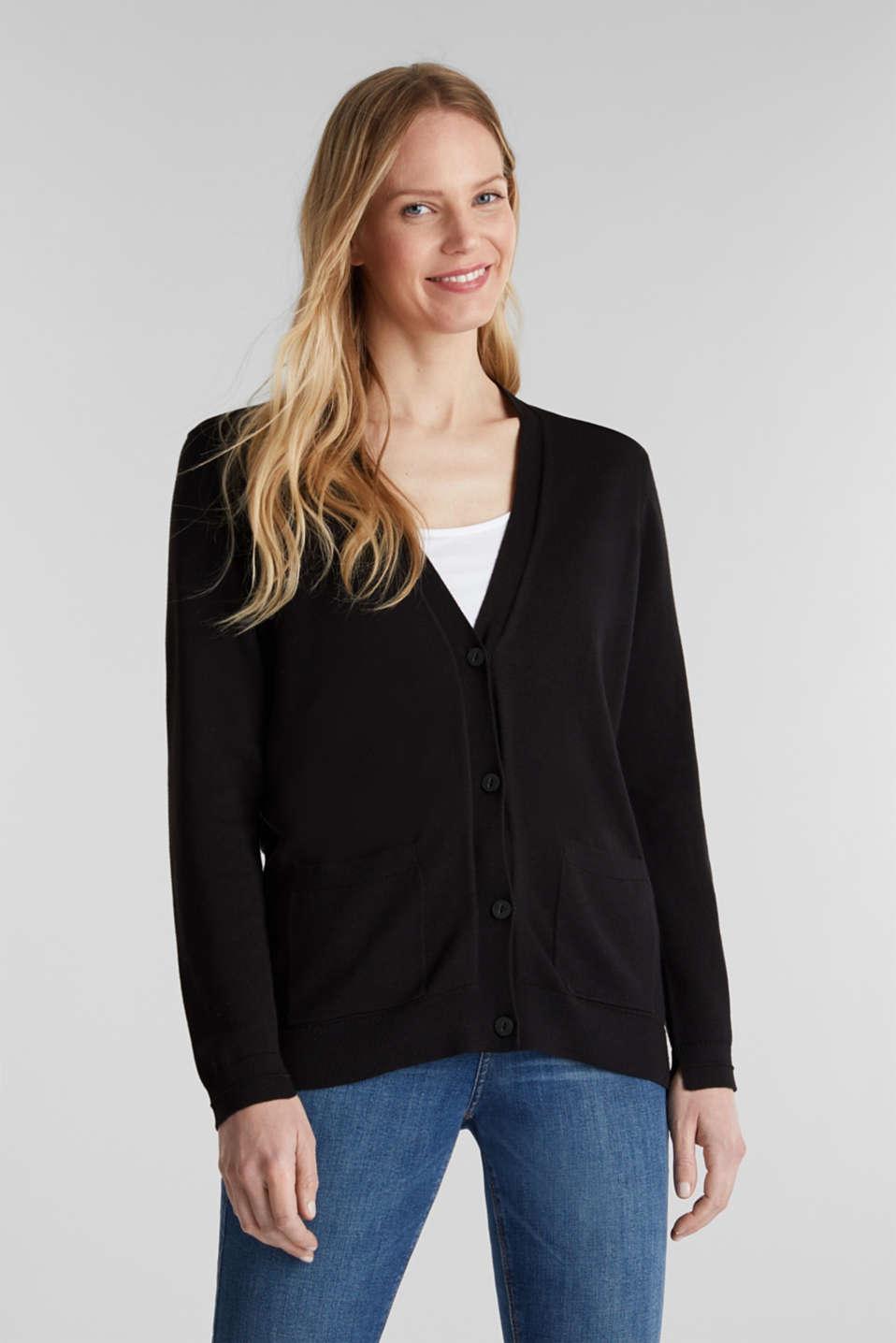 Cardigan with organic cotton, BLACK, detail image number 0