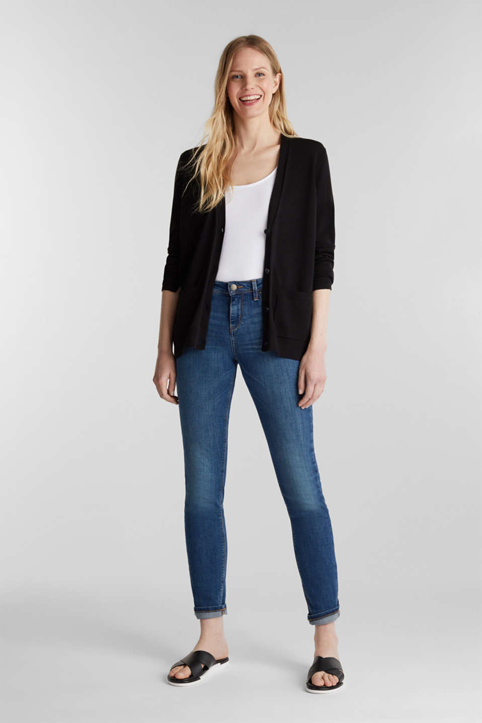 Cardigan with organic cotton, BLACK, detail image number 1