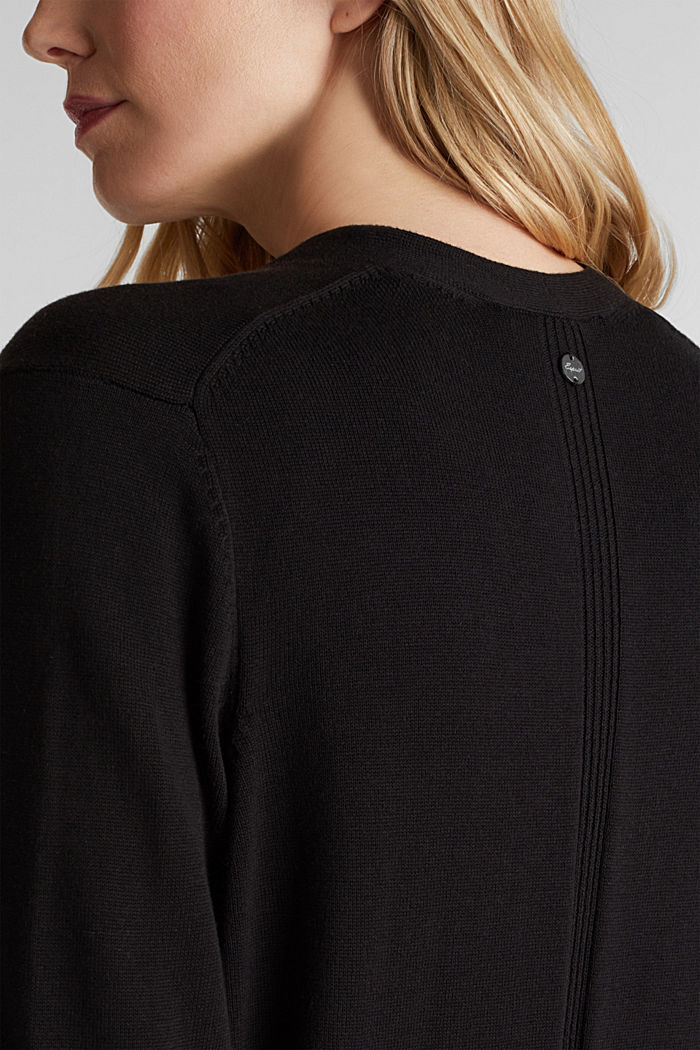 Cardigan con cotone biologico, BLACK, detail image number 2