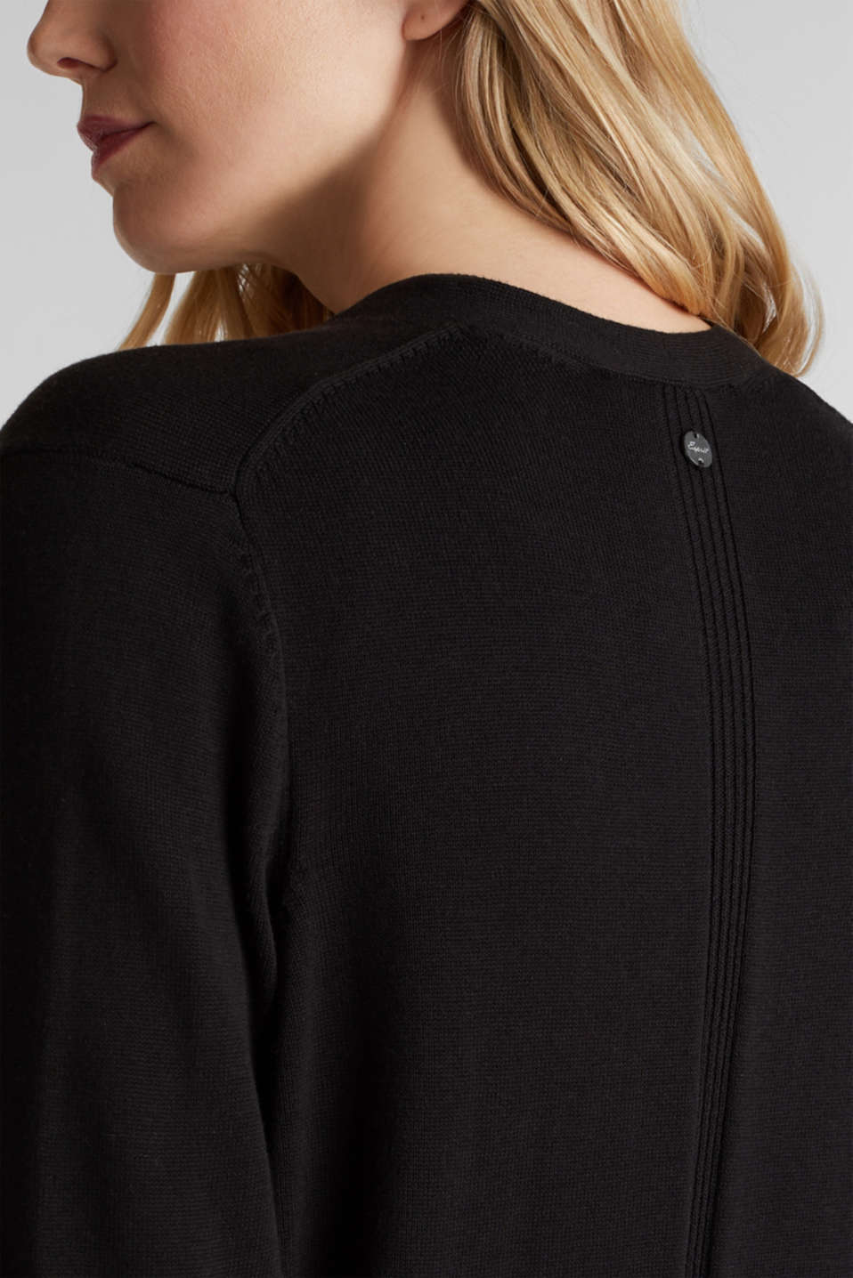 Cardigan with organic cotton, BLACK, detail image number 2