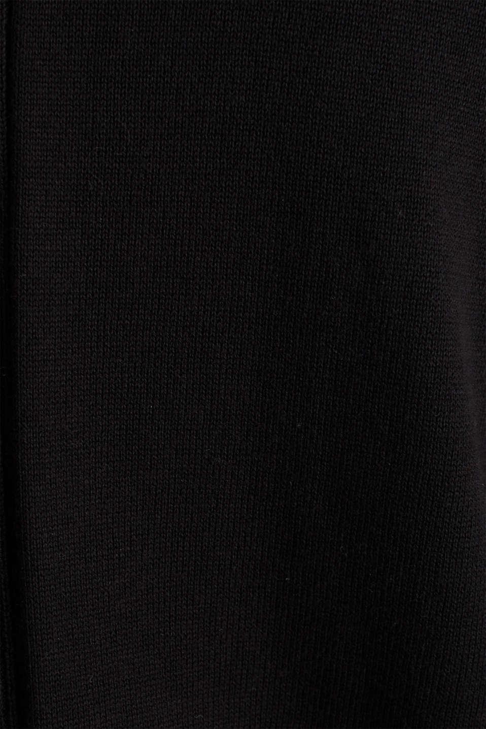 Cardigan with organic cotton, BLACK, detail image number 4