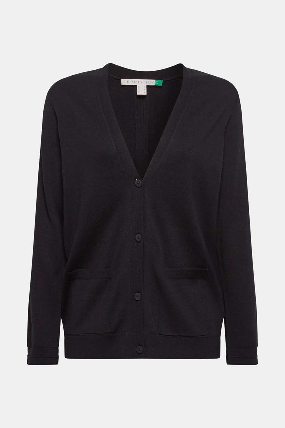 Cardigan with organic cotton, BLACK, detail image number 7