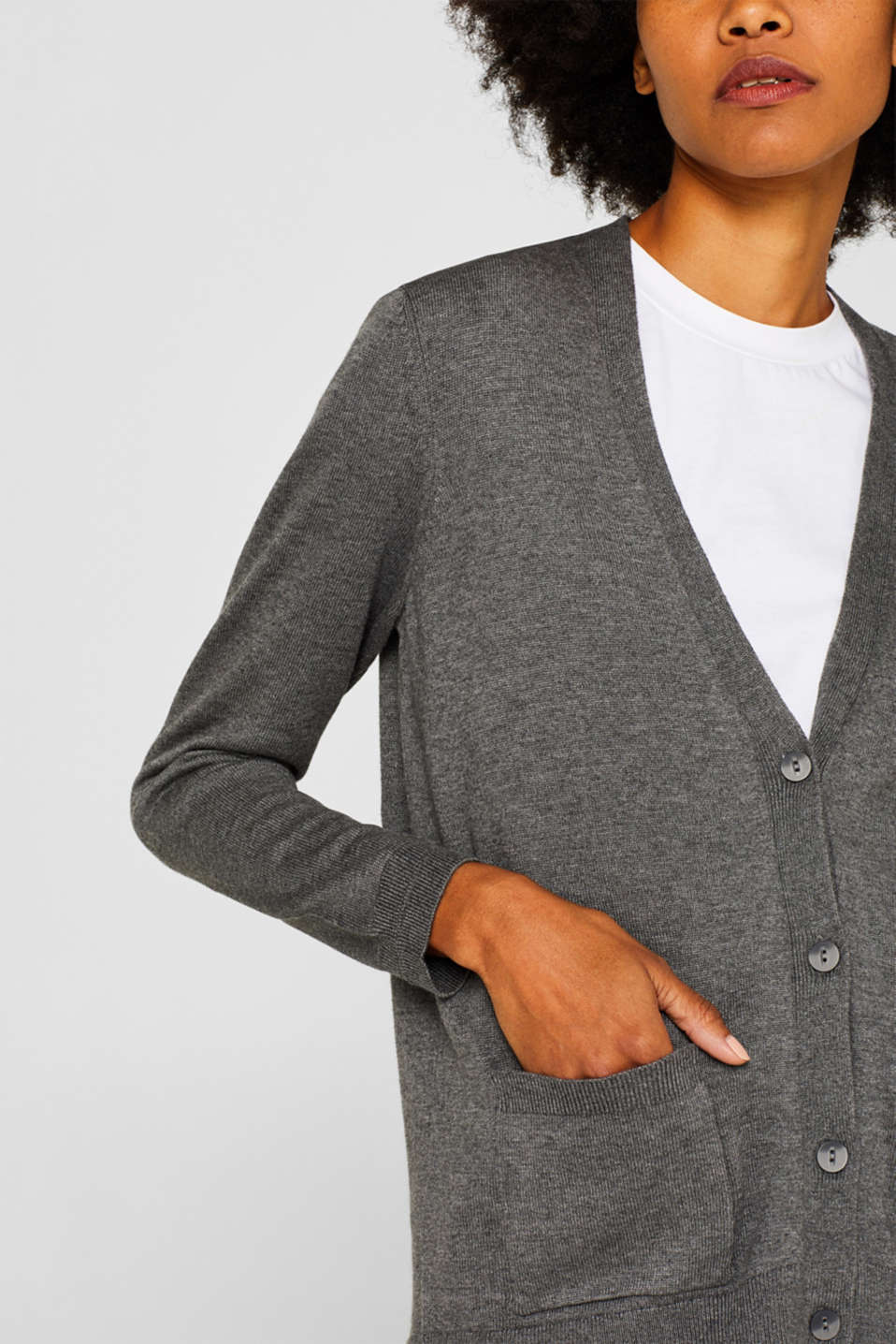 Cardigan with organic cotton, DARK GREY 5, detail image number 2