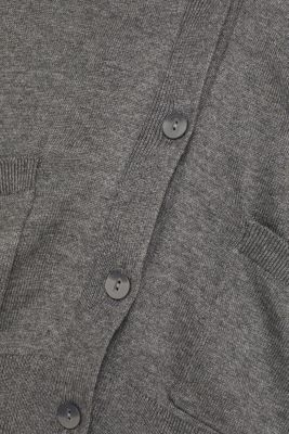 Cardigan with organic cotton, DARK GREY 5, detail