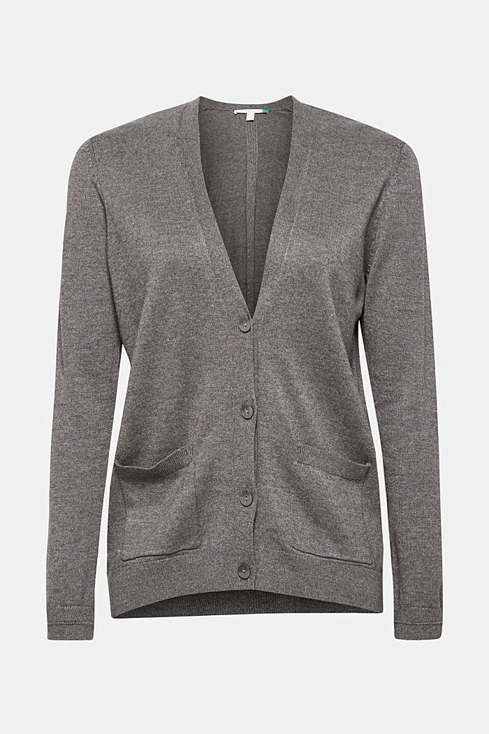 Cardigan with organic cotton, DARK GREY, detail image number 0