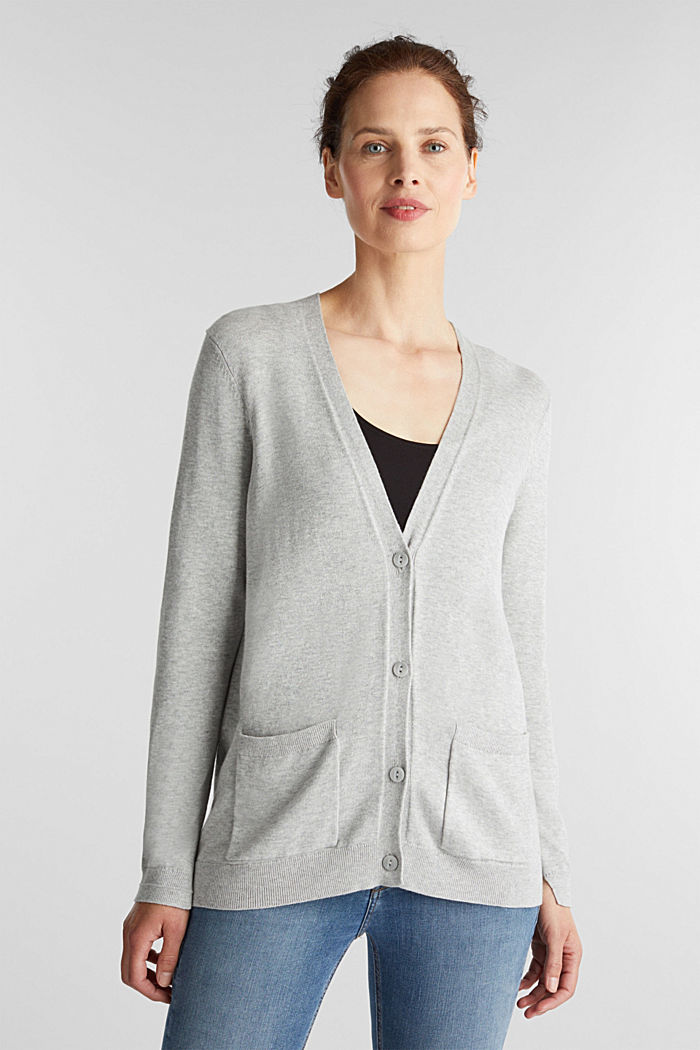 Cardigan mit Organic Cotton, LIGHT GREY, detail image number 0