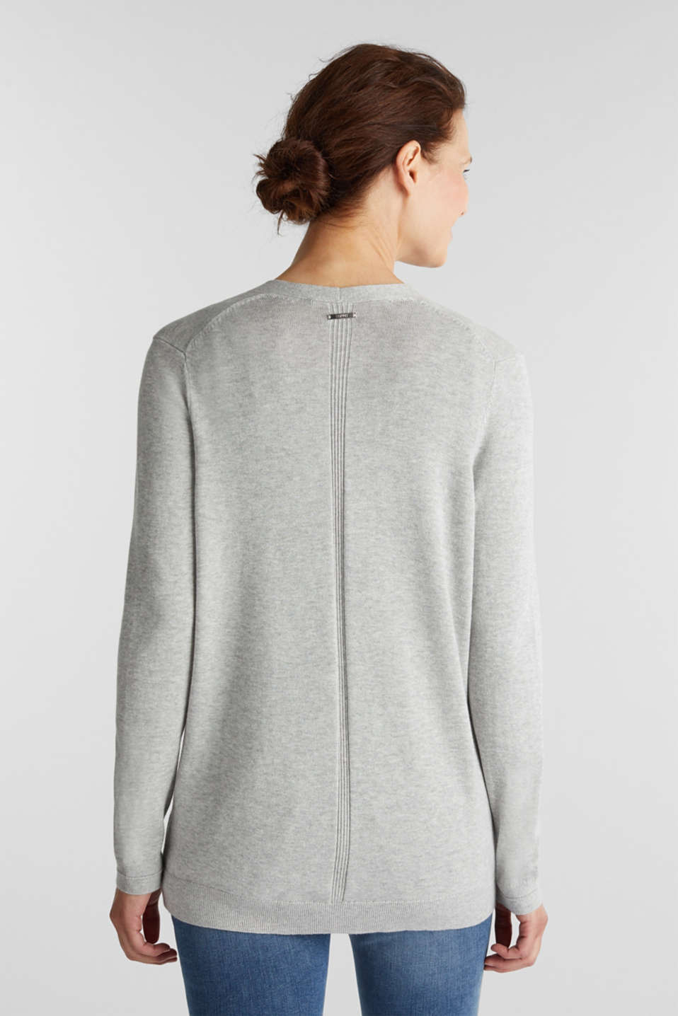 Cardigan with organic cotton, LIGHT GREY 5, detail image number 3