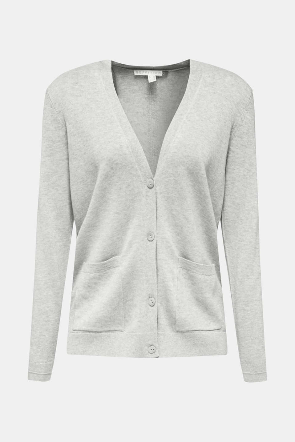 Cardigan with organic cotton, LIGHT GREY 5, detail image number 5