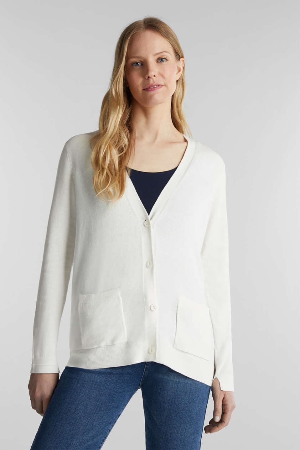 Cardigan with organic cotton, OFF WHITE, detail image number 0